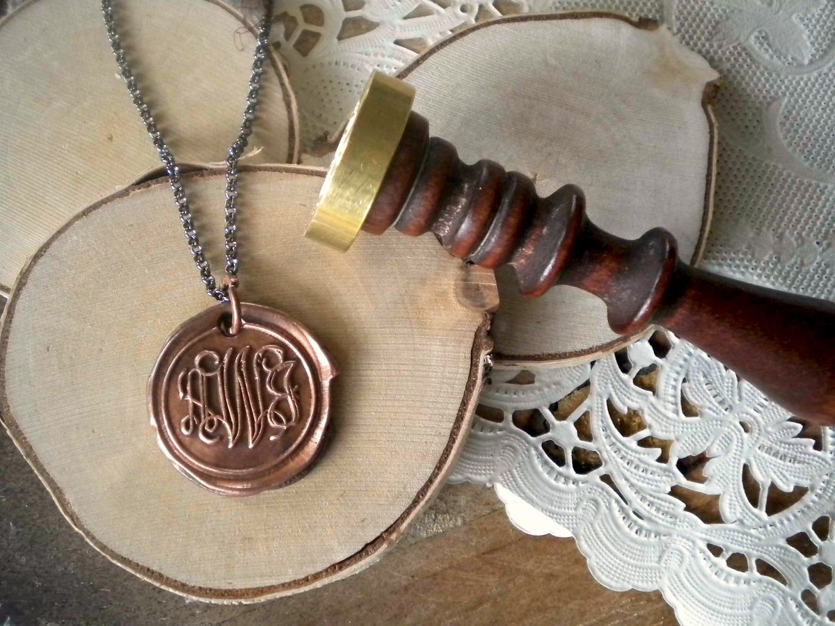 Copper Wax Seal Monogram Charm Necklace. You Keep the Wax Seal Stamp. - product images  of