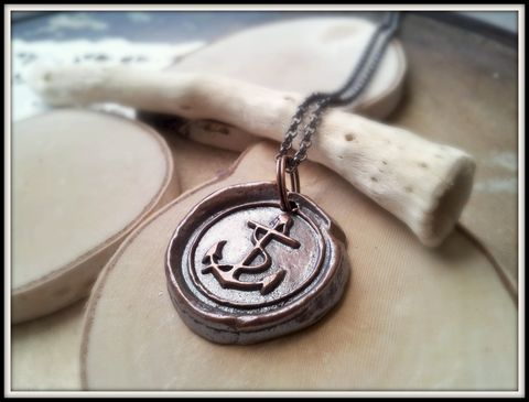 RESERVED:,Rustic,Copper,Anchor,Wax,Seal,Pendant,Necklace,wax seal, anchor, wax seal necklace, anchor necklace, i will not sink