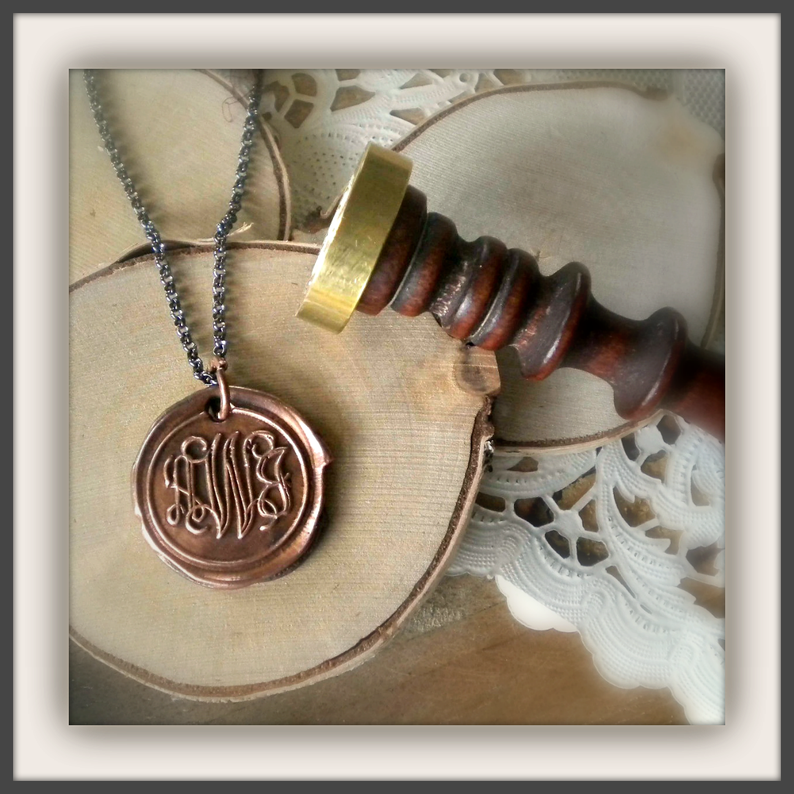 Copper Wax Seal Monogram Charm Necklace. You Keep the Wax Seal Stamp. - product image