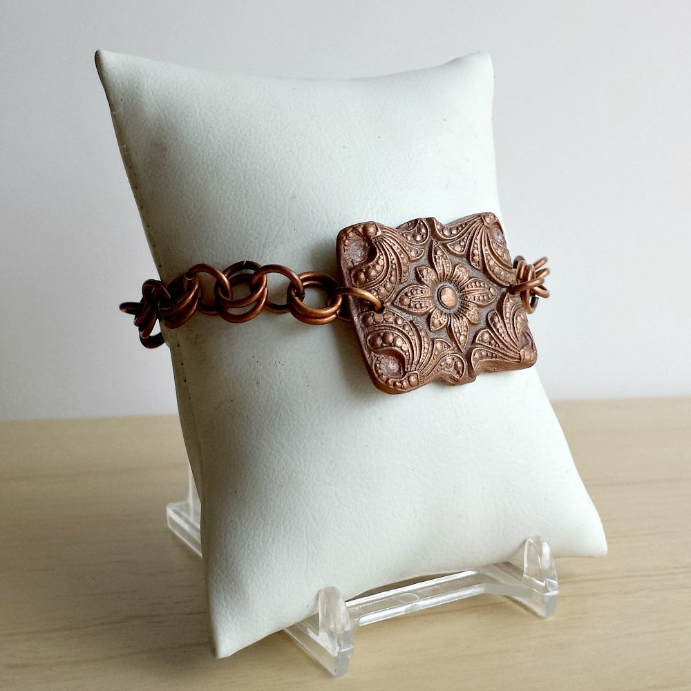 Rectangular Ornate Copper Pillow Charm Bracelet - product images  of