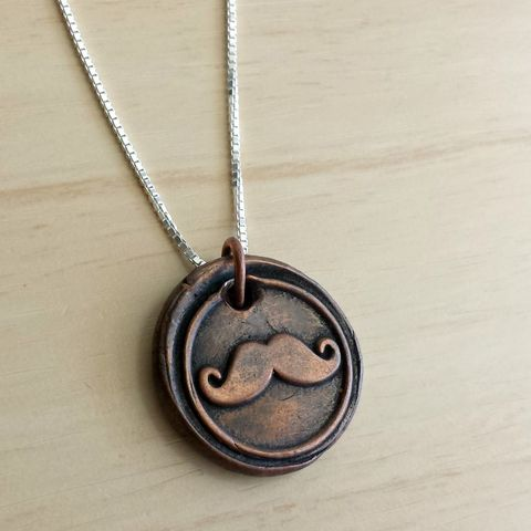 Mustache,Wax,Seal,Charm,Necklace,Pure,Copper,wax seal, anchor, wax seal necklace, anchor necklace, i will not sink