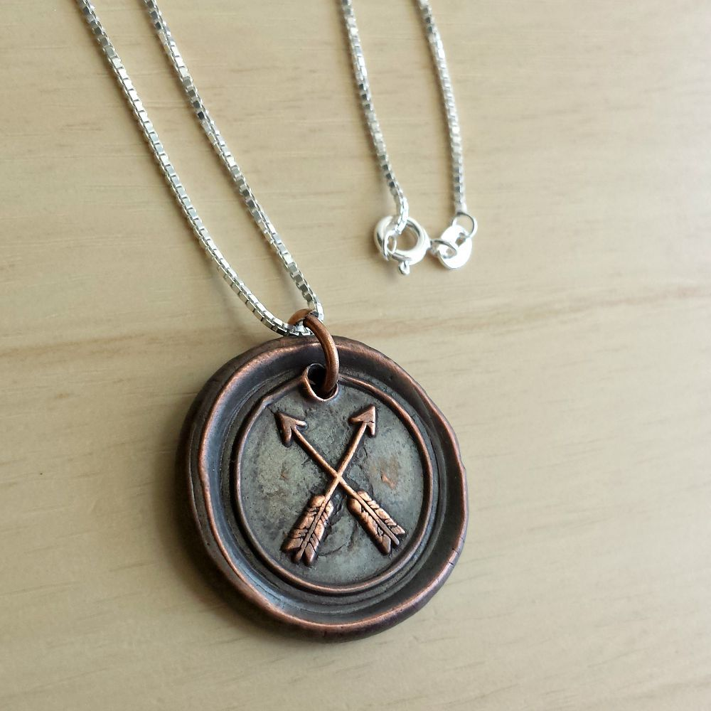 Copper Double Arrow Wax Seal Necklace - product images  of