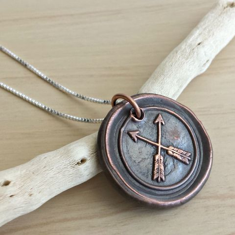 Copper,Double,Arrow,Wax,Seal,Necklace,arrow necklace, copper necklace, coin necklace, copper coin necklace, wax seal necklace