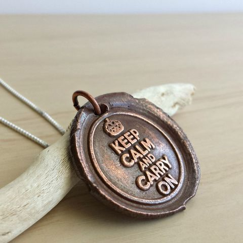 Copper,Keep,Calm,and,Carry,On,Wax,Seal,Necklace,keep calm, carry on, quote necklace, quote charm,  necklace necklace, copper necklace, coin necklace, copper coin necklace, wax seal necklace