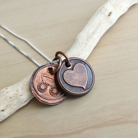 Copper,Mommy,Wax,Seal,Charm,Necklace,baby carriage, mom necklace, heart charm necklace, necklace, quote charm,  necklace necklace, copper necklace, coin necklace, copper coin necklace, wax seal necklace