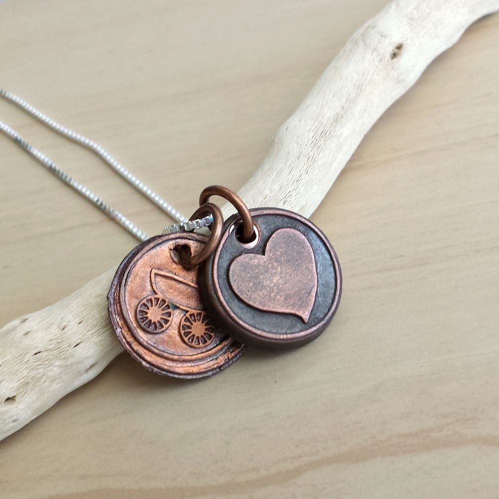 Copper Mommy Wax Seal Charm Necklace - product image