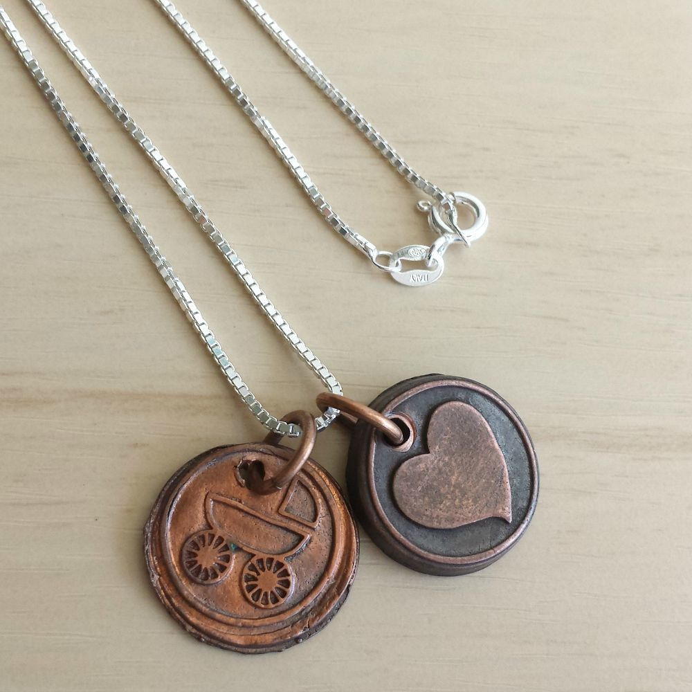 Copper Mommy Wax Seal Charm Necklace - product images  of