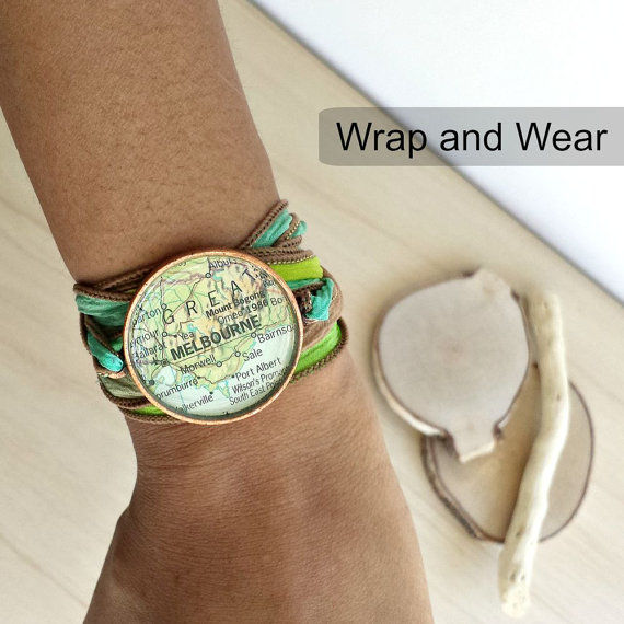 Rome Italy Map Ribbon Wrap Bracelet - Antique Gold - product images  of