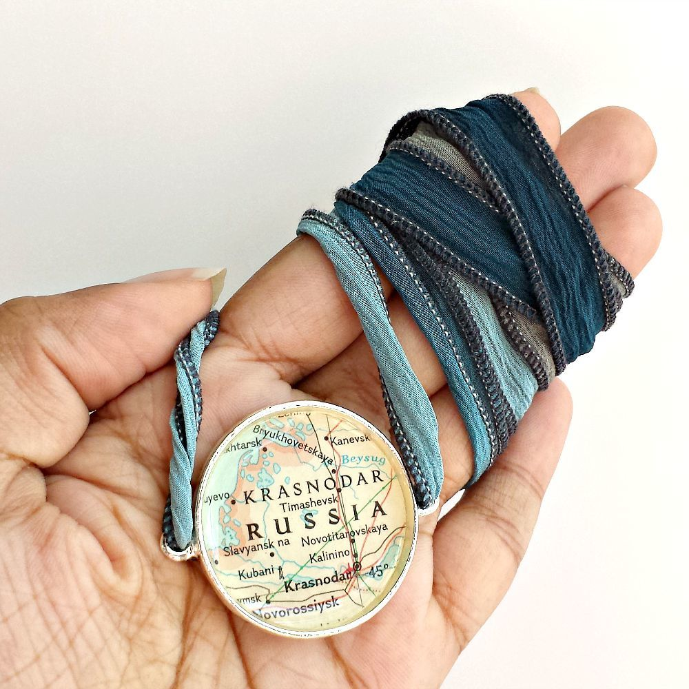 Russia Map Ribbon Wrap Bracelet  - product images  of