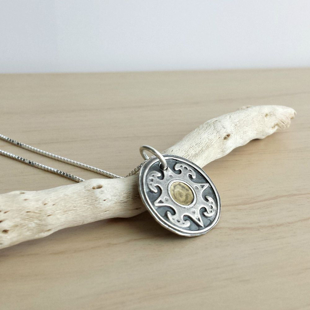 Fine Silver Reversible Compass Charm Necklace - product image