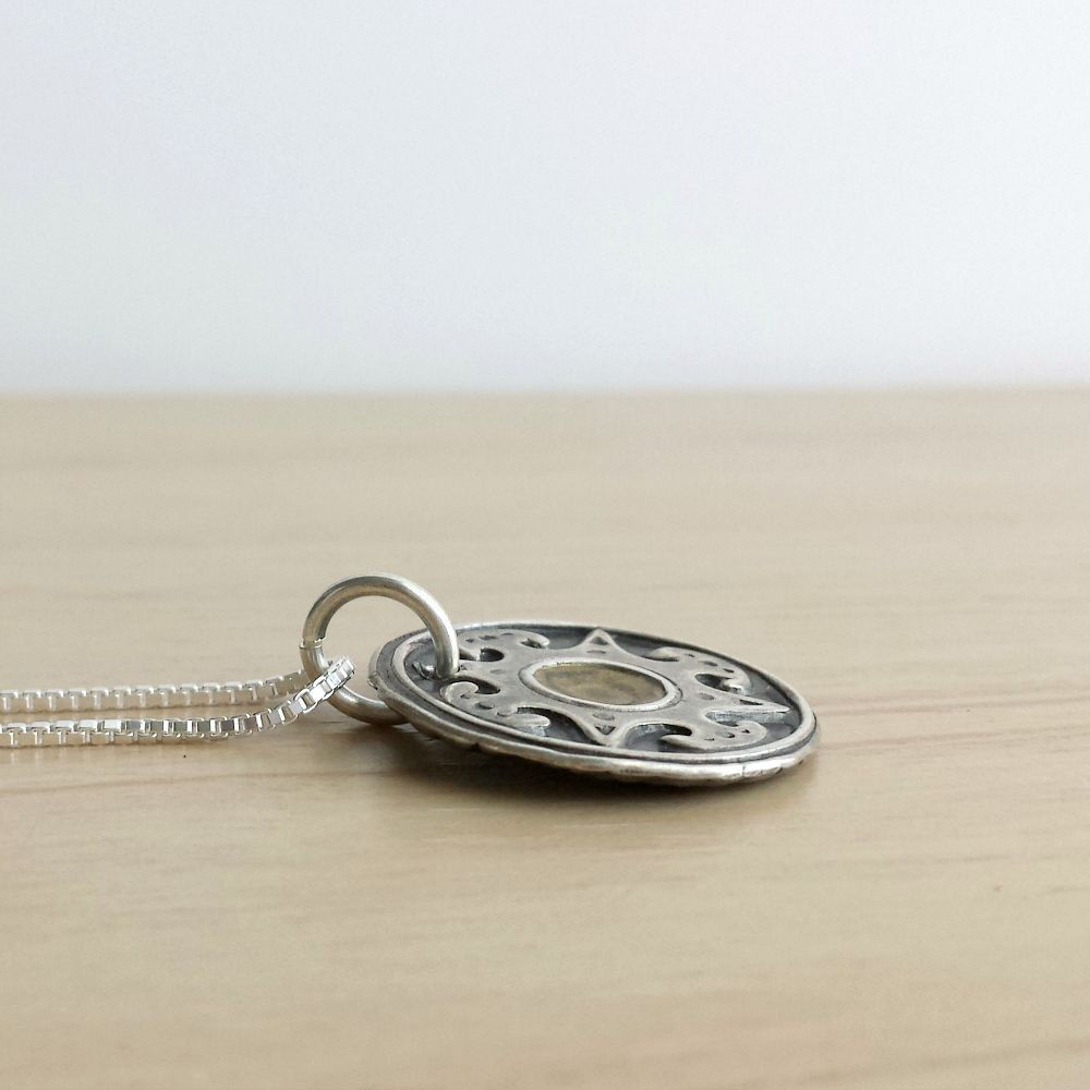 Fine Silver Reversible Compass Charm Necklace - product images  of