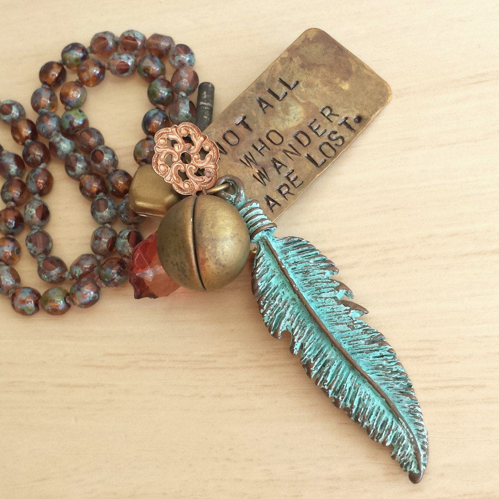 Rustic Knotted Feather Charm Necklace - Not all Who Wander are Lost Quote - product images  of
