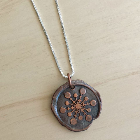Copper,Snowflake,Wax,Seal,Charm,Necklace,snowflake, snow, winter, snowflake jewelry, snowball, winter jewelry