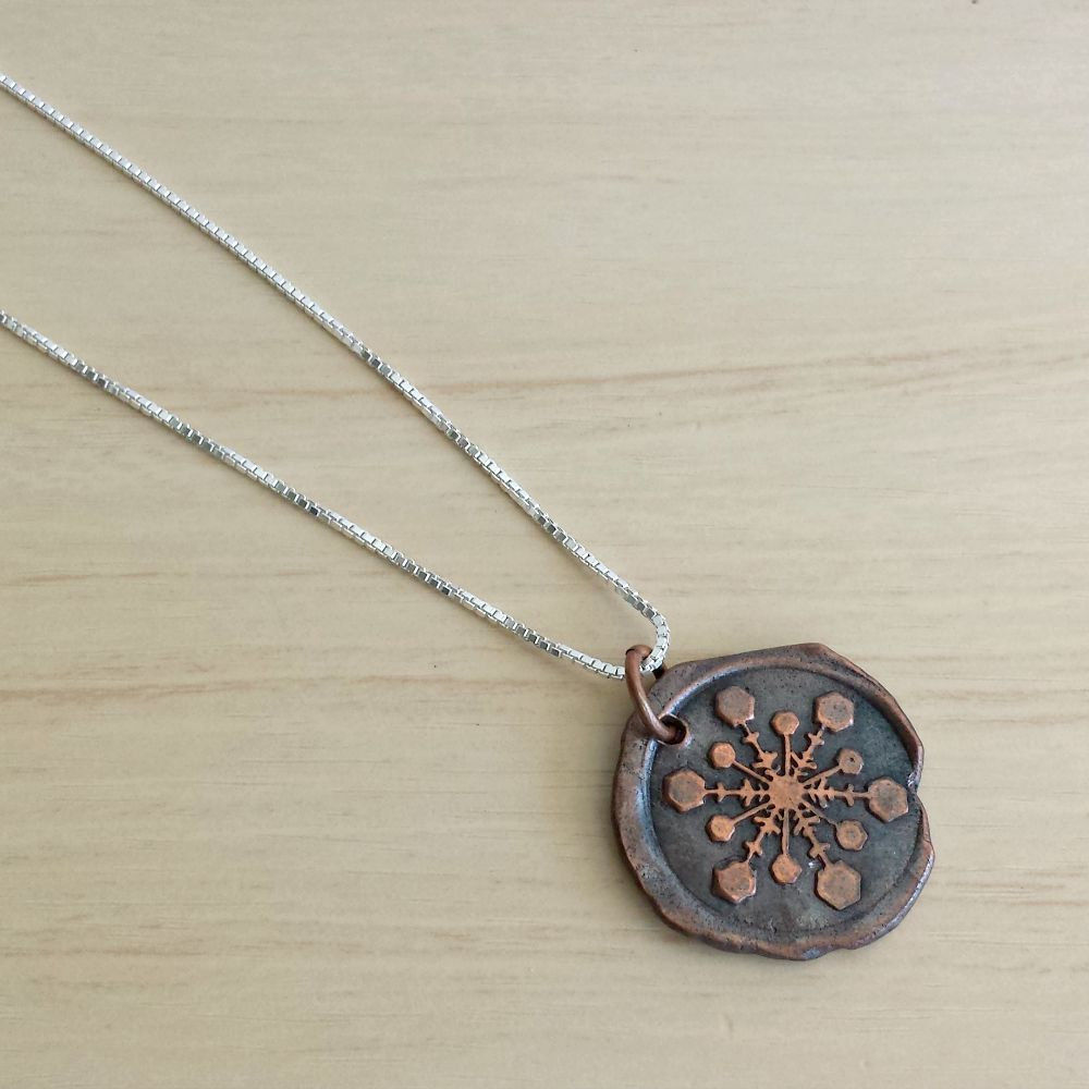 Copper Snowflake Wax Seal Charm Necklace - product images  of