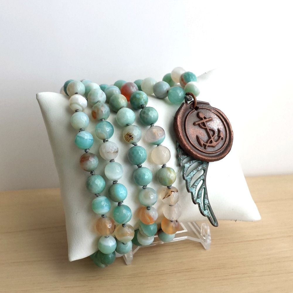 Copper Anchor Charm with Long Knotted and Beaded Agate Necklace and Wing Charm - product image