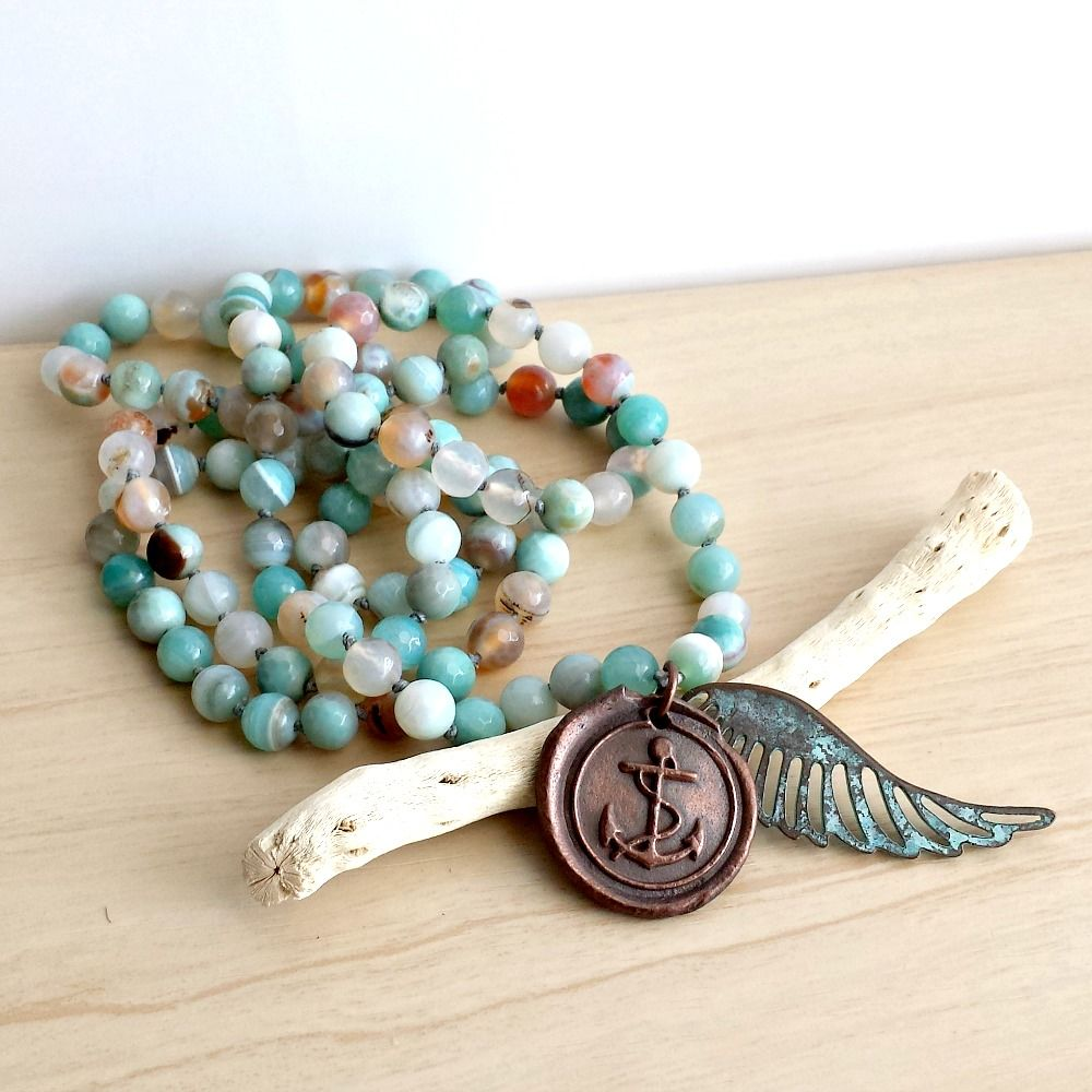 Copper Anchor Charm with Long Knotted and Beaded Agate Necklace and Wing Charm - product images  of