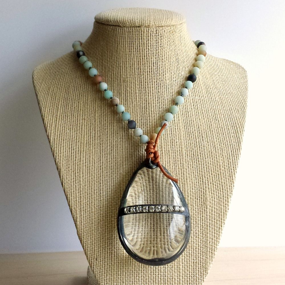 Clear Vintage Glass Chandelier Drop with Ammonite Beads Statement Necklace - product images  of