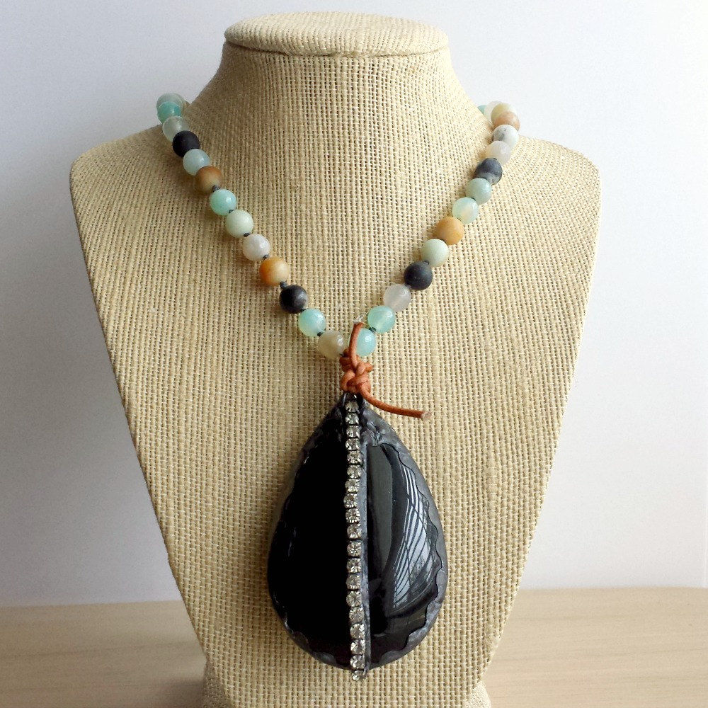 Black Vintage Glass Chandelier Drop with Agate Beads Statement Necklace - product images  of