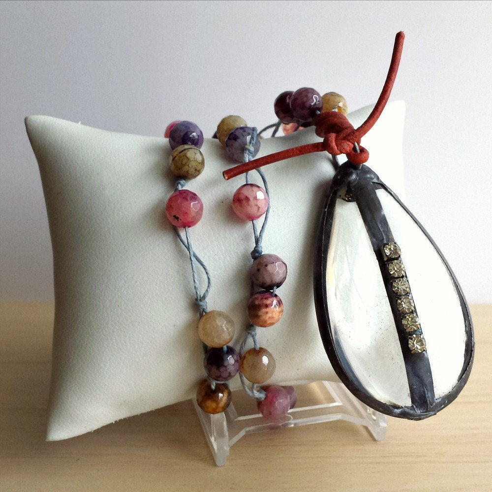 Vintage Glass Chandelier Drop with Agate Beads Statement Necklace - product images  of