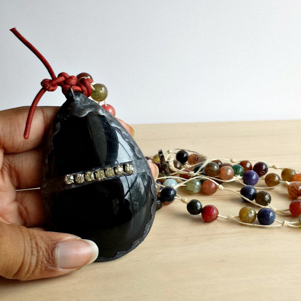 Black Vintage Glass Chandelier Drop with Agate Beads Statement Necklace - product image