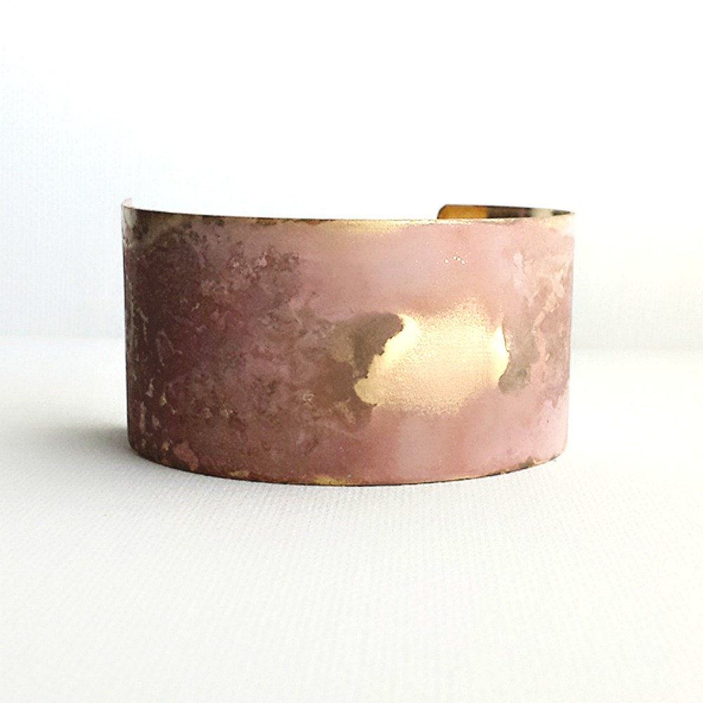 Wide Brass Patina Cuff Bracelet #005 - product image