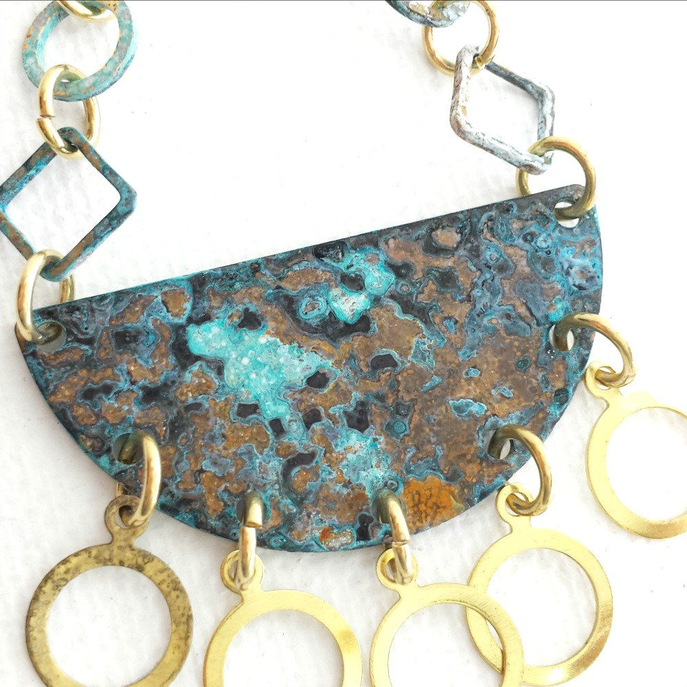 Long Patina Brass Patina Necklace with Raw Brass Rings - product images  of