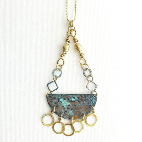 Long,Patina,Brass,Necklace,with,Raw,Rings,brass jewerly, patina jewelry, patina necklace, boho jewelry, verdigris