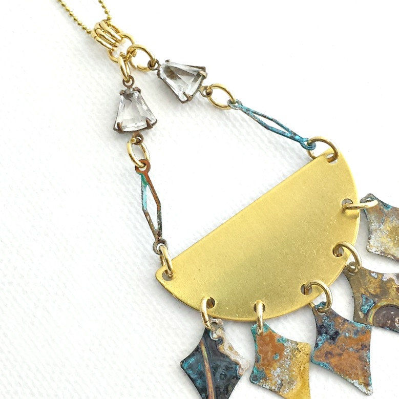 Long Brass Necklace with Patina Spearheads - product images  of