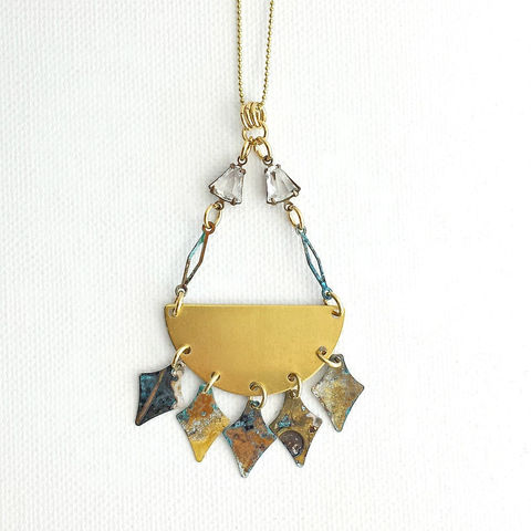 Long,Brass,Necklace,with,Patina,Spearheads,brass jewerly, patina jewelry, patina necklace, boho jewelry, verdigris