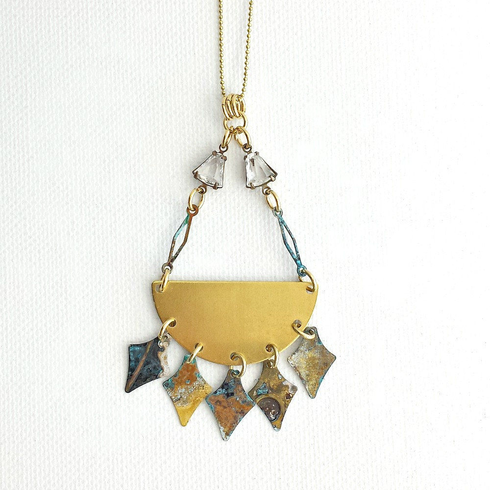 Long Brass Necklace with Patina Spearheads - product image