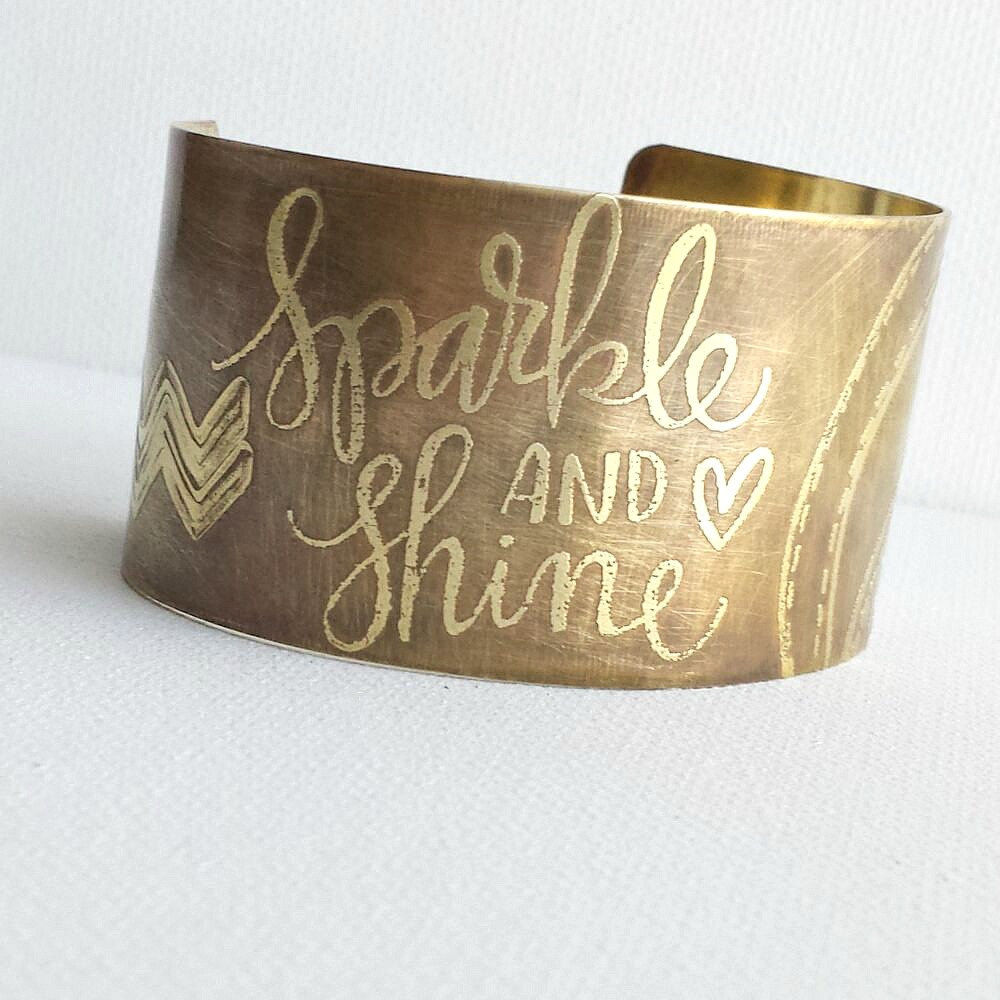 Sparkle and Shine Brass Etched Cuff Bracelet - product images  of