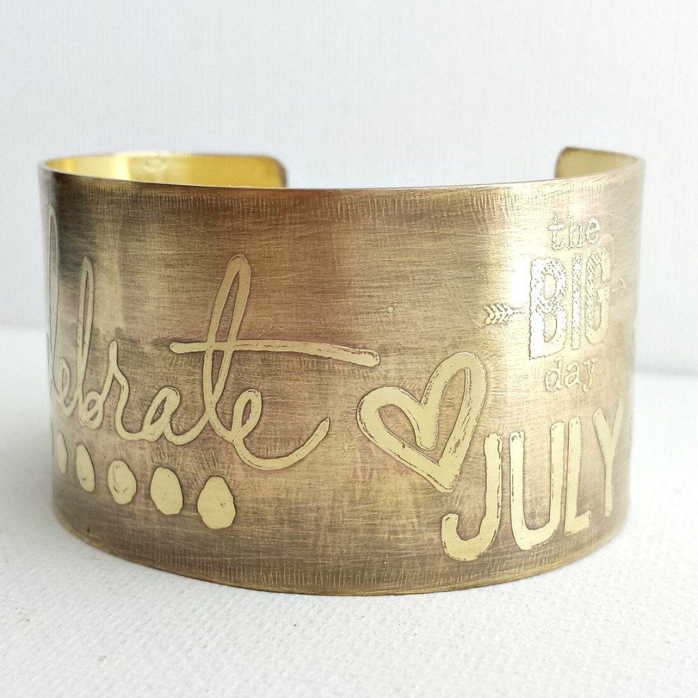Celebrate Custom Month/Date Brass Etched Cuff Bracelet - product images  of
