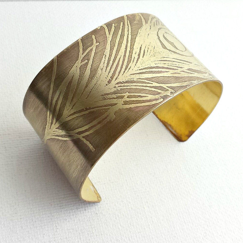 Peacock Feather Brass Etched Cuff Bracelet - product images  of