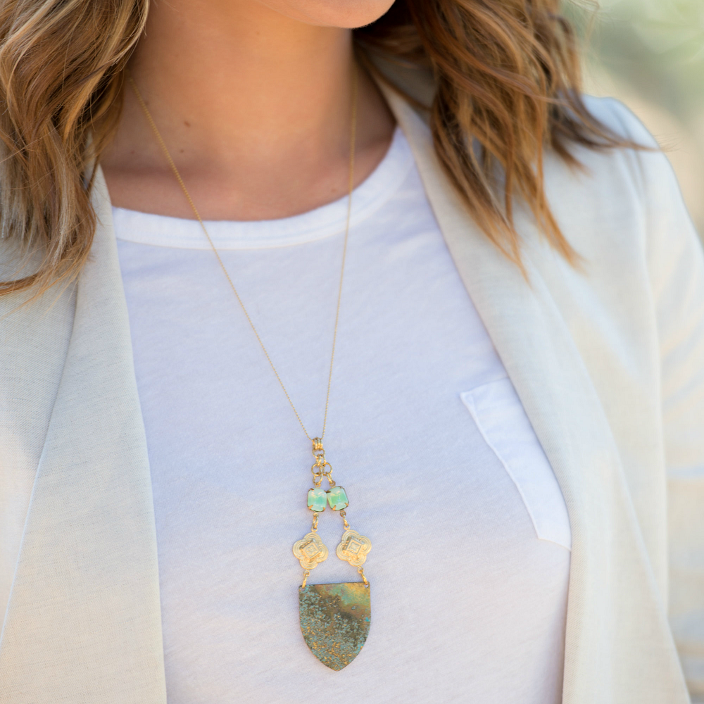 Brass Patina Shield Necklace with Quatrefoil Charms and Green Vintage Glass Stones - product images  of