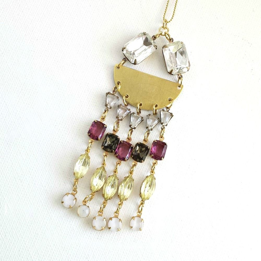 Brass Semi Circle with Multi Row Vintage Glass Stone Fringe Necklace - product images  of