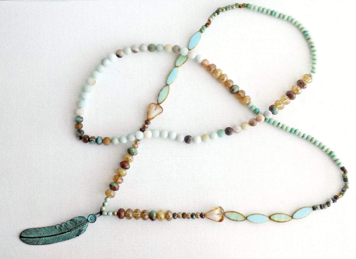 Long Feather Beaded Necklace - product images  of