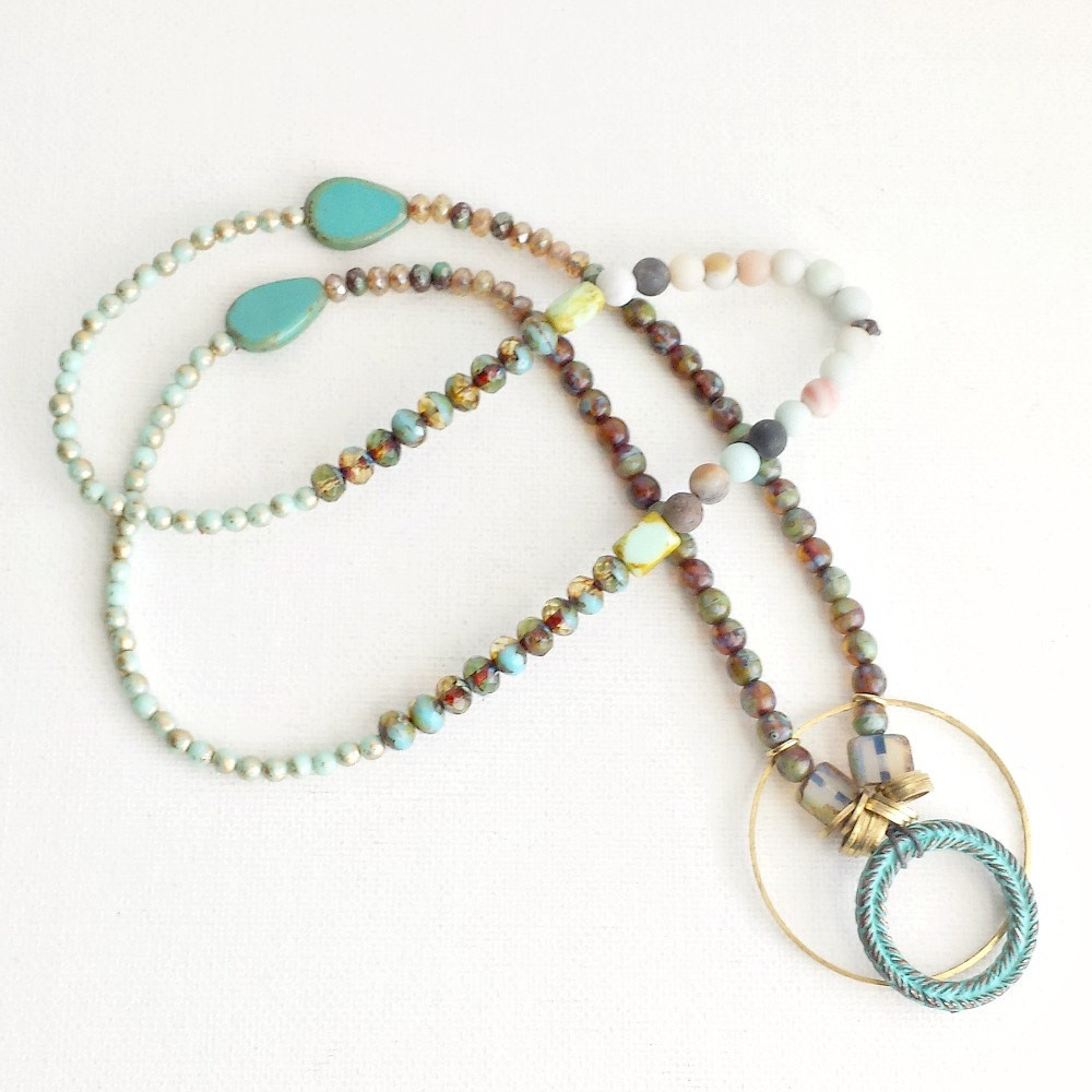Beaded Necklace with Verdigris Patina Greek Wreath Pendant - product images  of