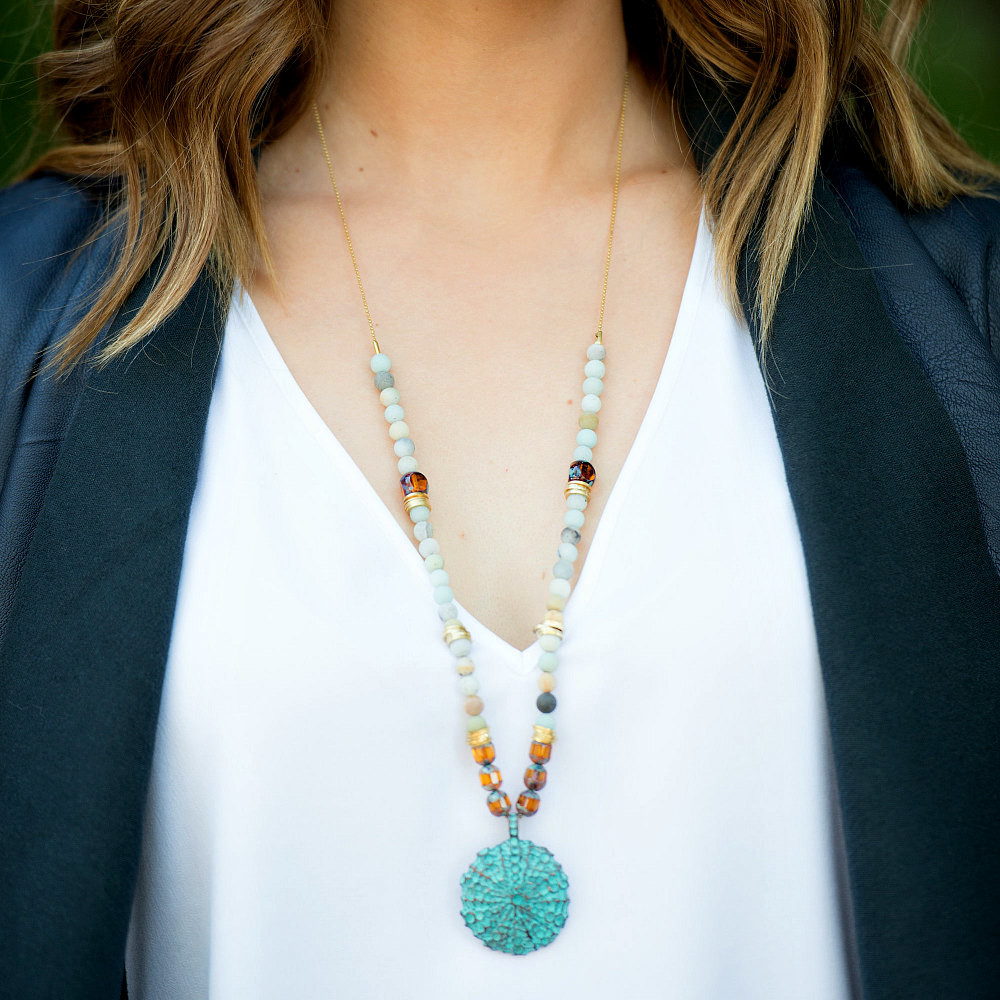 Verdigris Sea Urchin Patina Beaded Pendant Necklace - product images  of