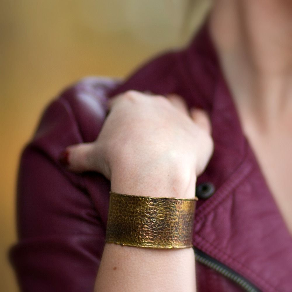 Hammered Patina Cuff Bracelet - product images  of