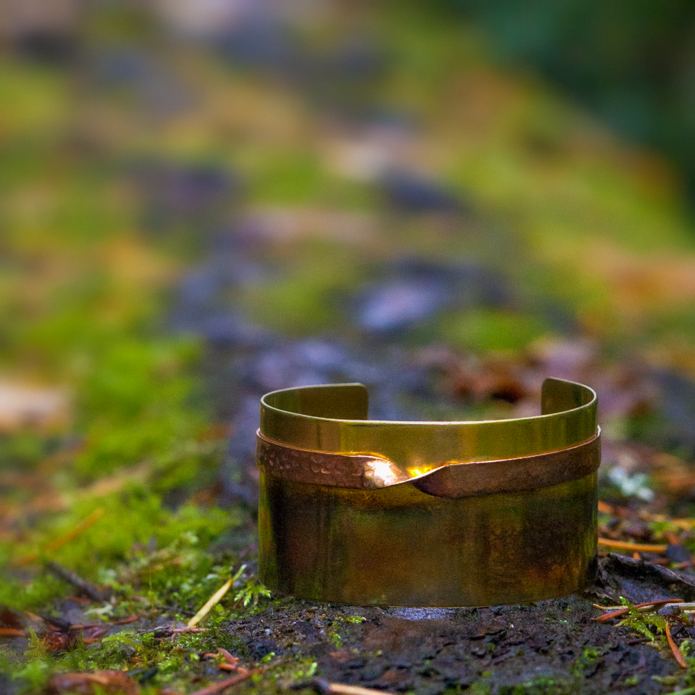 Brass and Copper Cuff Bracelet with Dark Patina - product images  of