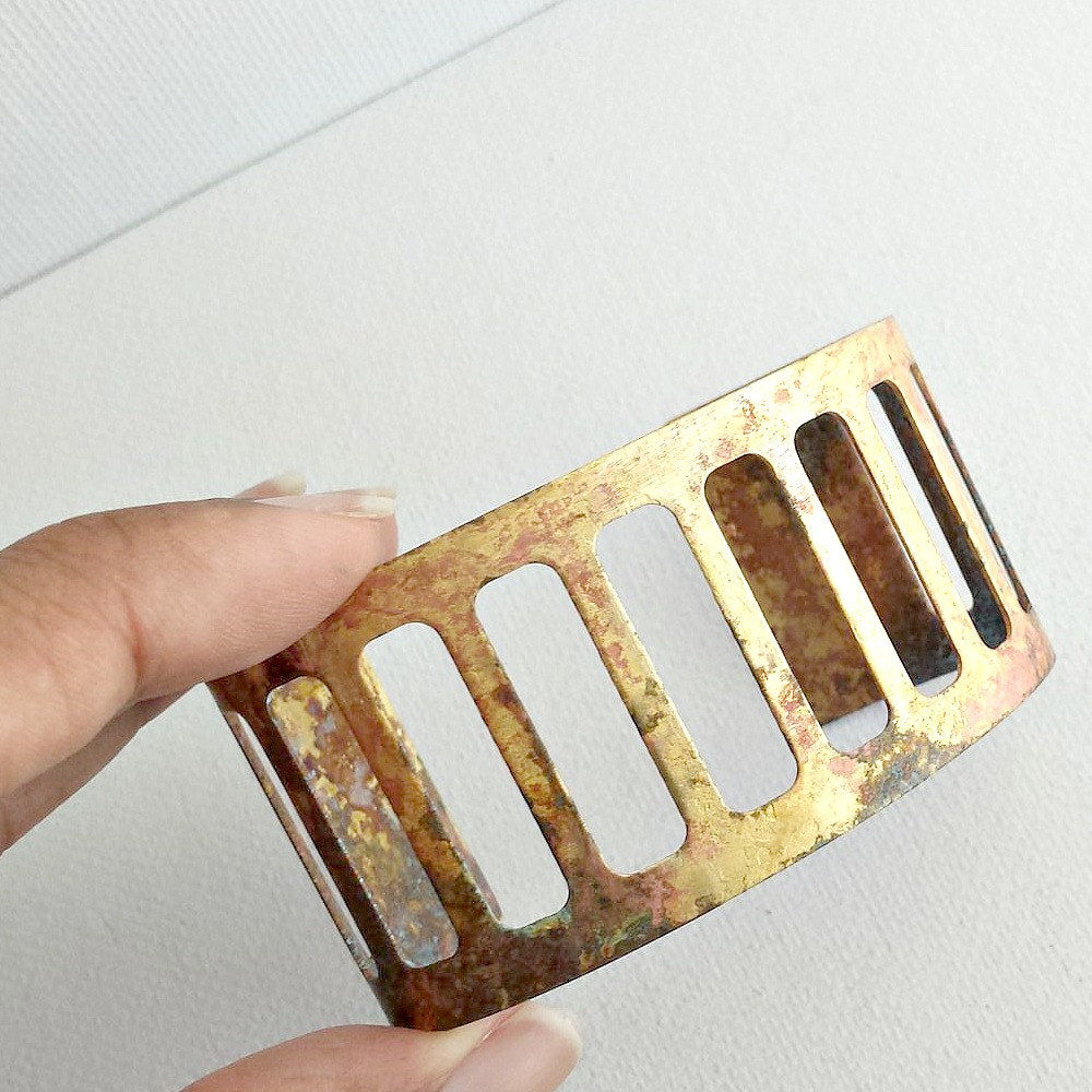 Cut Out Brass Patina Cuff Bracelet - product images  of