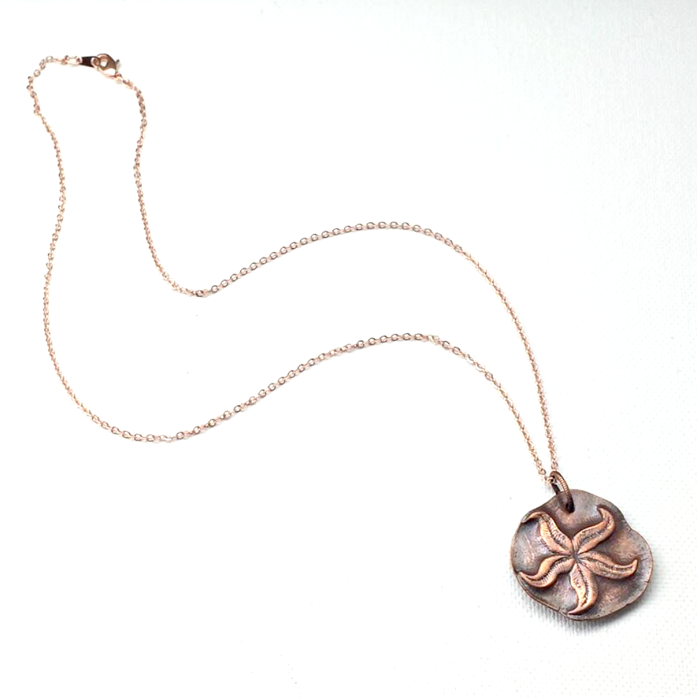 Pure Copper Starfish Wax Seal Pendant Necklace - product images  of