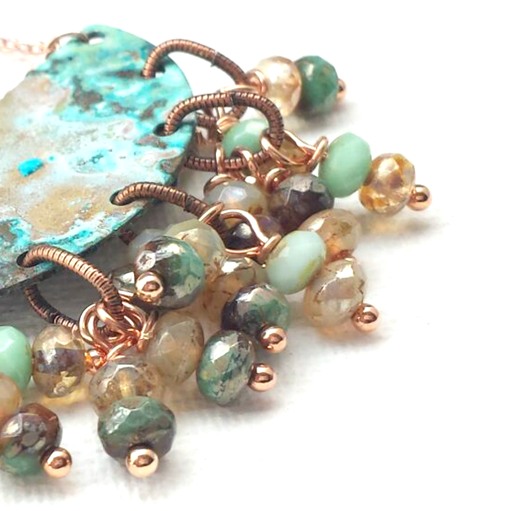 Patina Semi Circle with Czech Glass Beads - product images  of