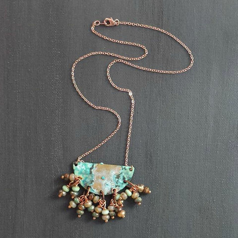 Patina,Semi,Circle,with,Czech,Glass,Beads, patina necklace, filigree, rustic necklace