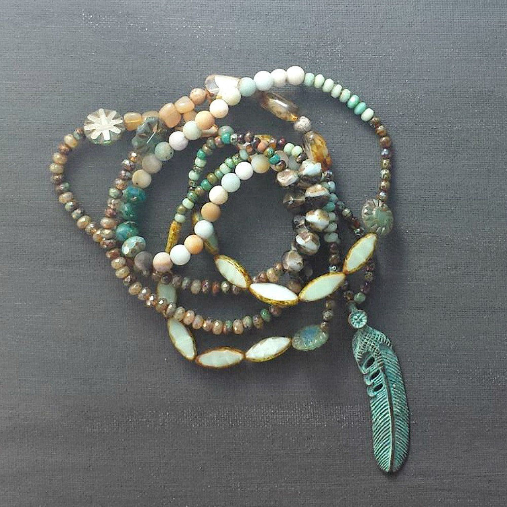 Long Metal Verdigris Feather Multi Color Beaded Necklace - product images  of