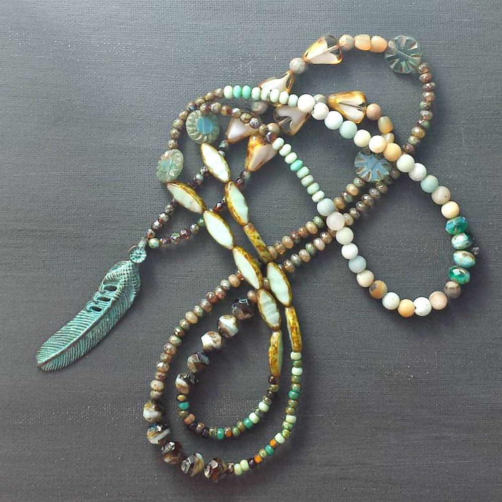 Long Metal Verdigris Feather Multi Color Beaded Necklace - product image