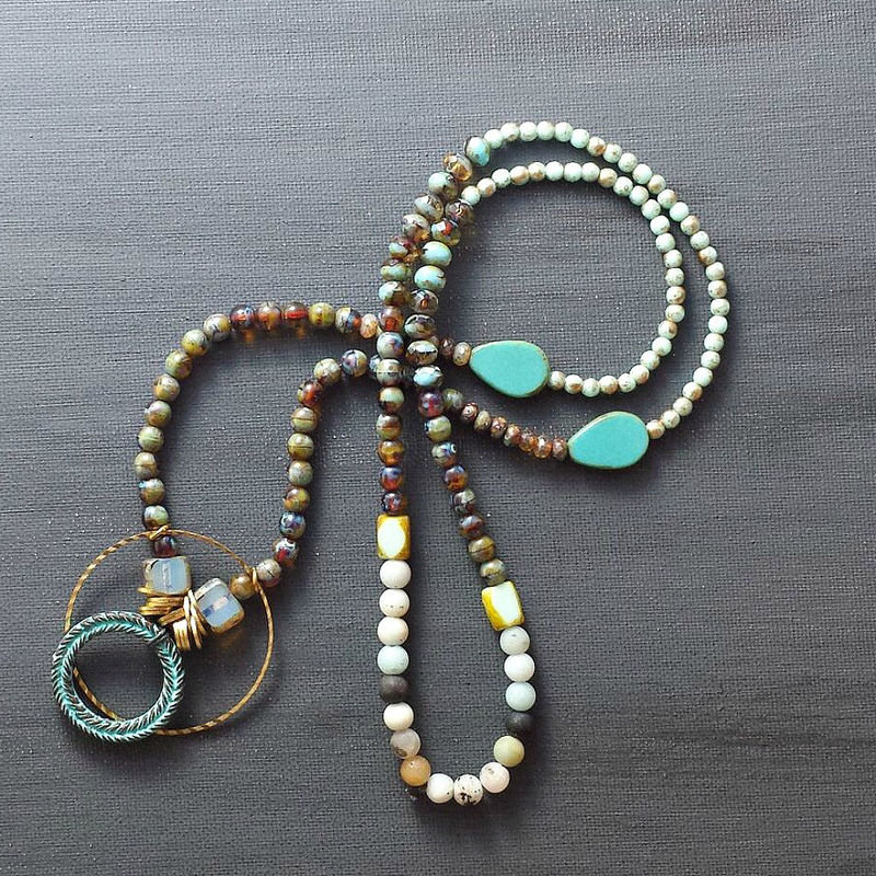 Beaded Necklace with Verdigris Patina Greek Wreath Pendant - product image