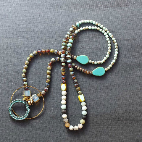 Beaded,Necklace,with,Verdigris,Patina,Greek,Wreath,Pendant,brass jewerly, patina jewelry, patina necklace, boho jewelry, verdigris, brass semi circle, agate necklace