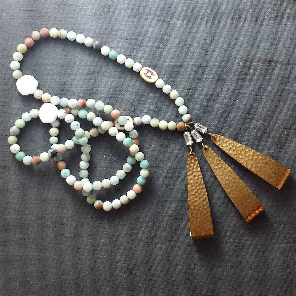 Czech Glass and Amazonite Beaded Necklace with Triple Raw Brass Hammered Drops - product images  of