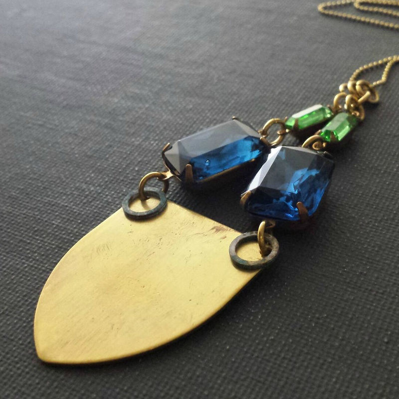 Brass Patina Shield Necklace with Patina Rings, Montana Blue & Green Vintage Glass Stones - product images  of